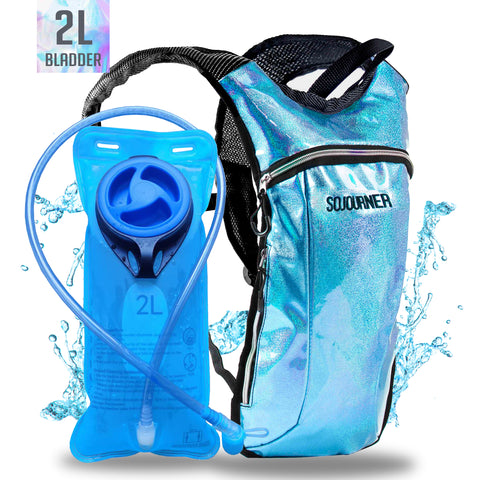 Hydration Pack Backpack - 2L Water Bladder - Glitter Blue
