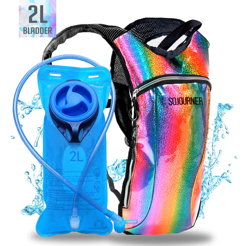 Hydration Pack Backpack - 2L Water Bladder - Glitter Rainbow