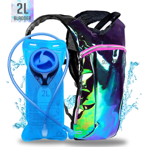 Hydration Pack Backpack - 2L Water Bladder - Laser Green Purple