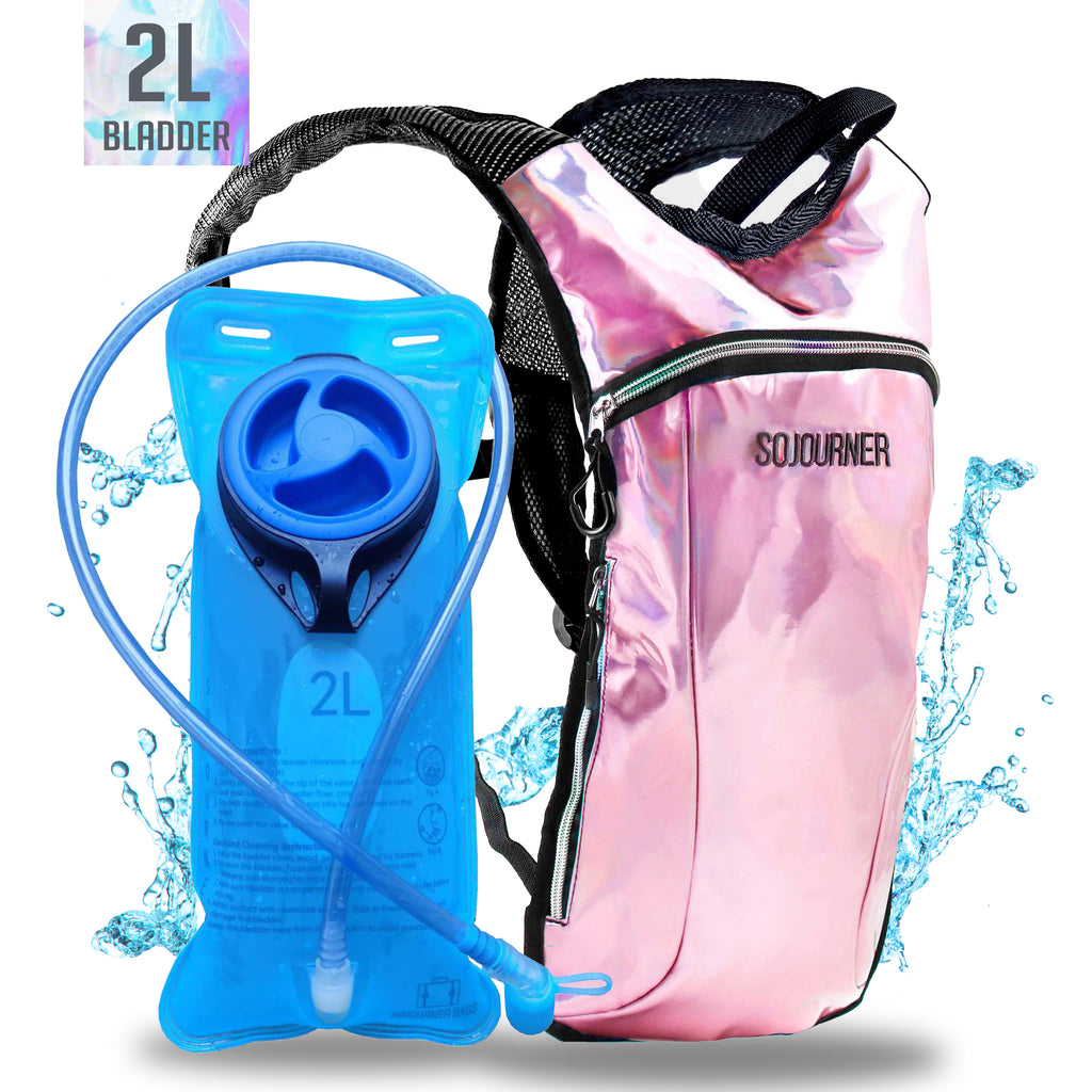 Hydration Pack Backpack - 2L Water Bladder - Holographic Pink