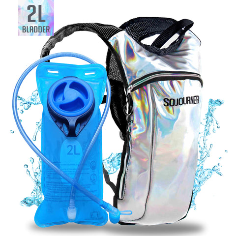 Hydration Pack Backpack - 2L Water Bladder - Holographic Silver