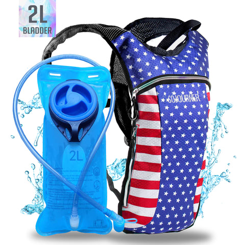 Hydration Pack Backpack - 2L Water Bladder - USA
