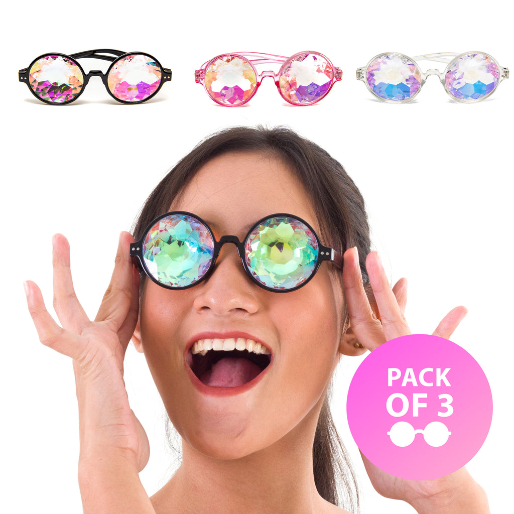 Fanny Pack Kaleidoscope Glasses - 3 Pk - Trippy Psychedelic Rave Goggles - Funky Prism Glasses For Raves - SoJourner Bags