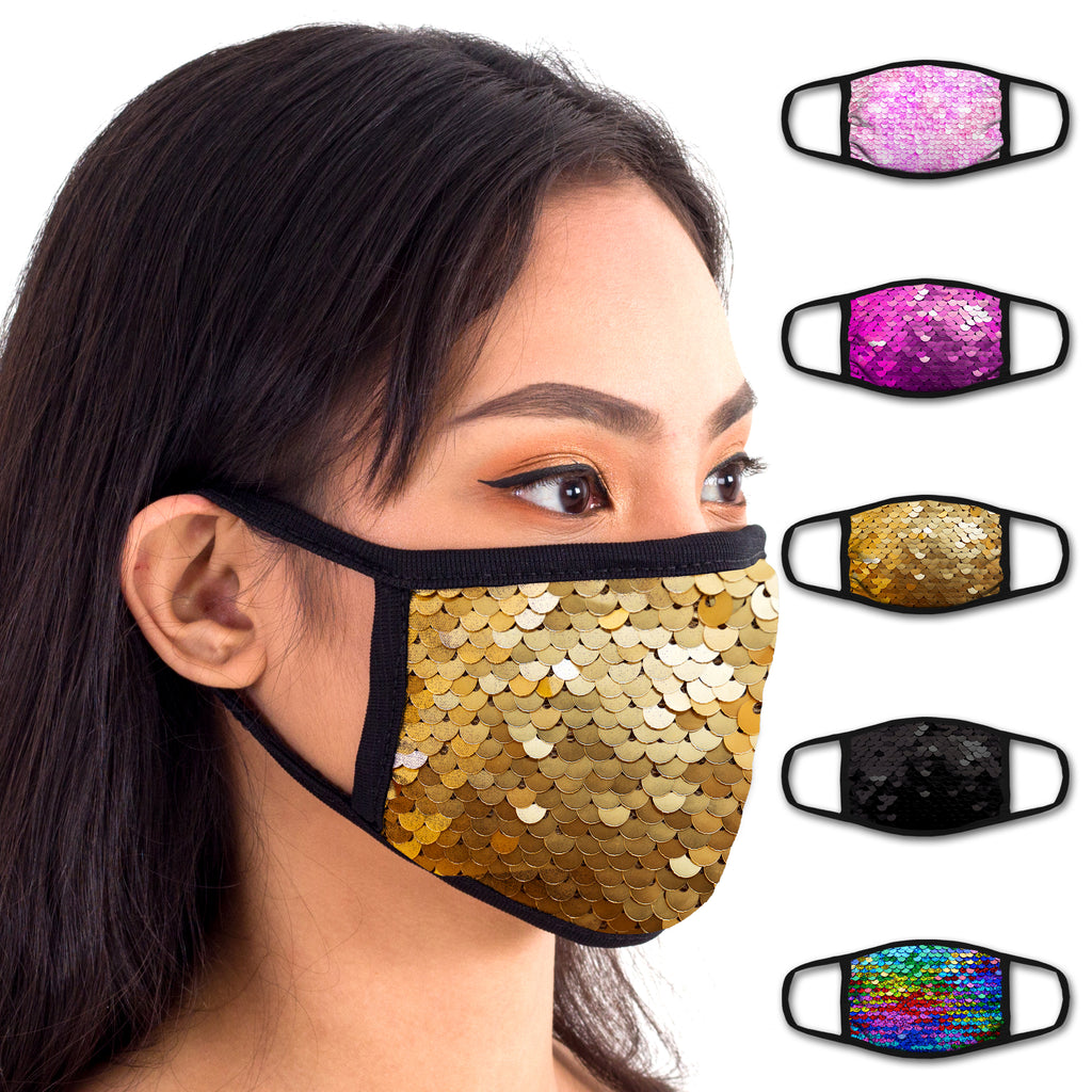 Face Mouth Mask - Cotton Face Covering (5 Pack - Sequins)