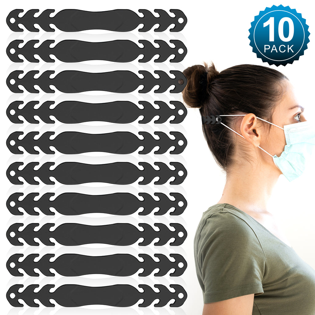 (10 Pack - Black) Face Mask/Ear Savers - Soft, Silicone Adjustable Mask Adjuster Ear Strap Clips