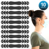 (20 Pack - Black) Face Mask/Ear Savers - Soft, Silicone Adjustable Mask Adjuster Ear Strap Clips