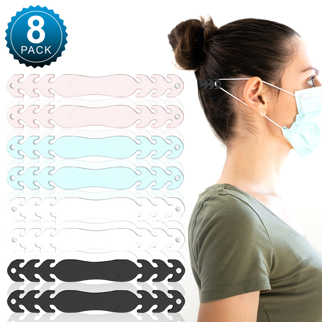 (8 Pack - Multi Color) Face Mask/Ear Savers - Soft, Silicone Adjustable Mask Adjuster Ear Strap Clips