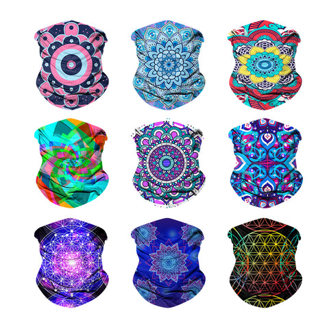9PCS Mandala - Seamless Mask Bandana Headband