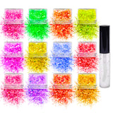 12 pack  Neon Glitter + 1 glitter glue Chunky Cosmetic Holographic Glitter | Body, Face & Hair Safe