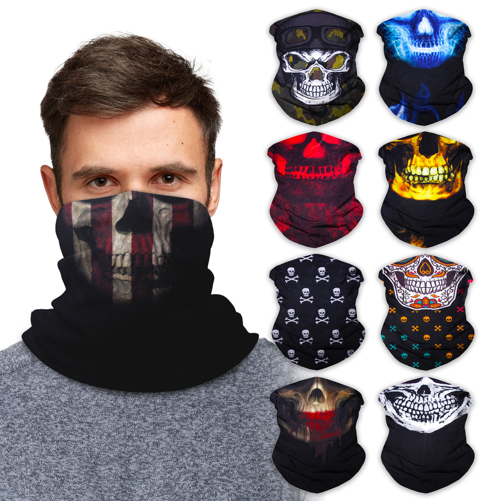 Neck Gaiter Face Mask Bandana Neck Gators Face Coverings for Men & Women I Neck Gator Masks Skull 2