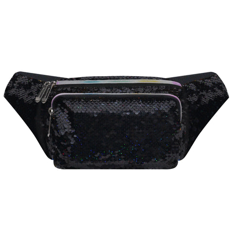 Sequin Black-Gold Fanny Pack