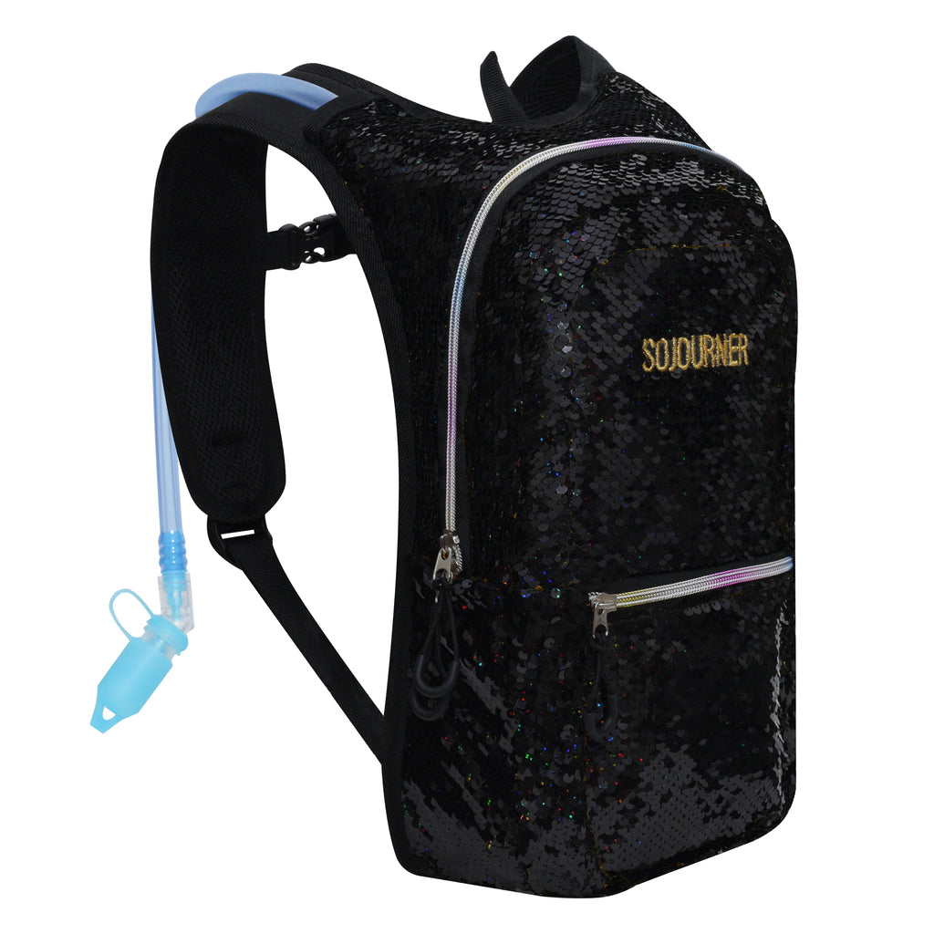 Medium Hydration Pack Backpack - 2L Water Bladder - Sequin Black-Gold