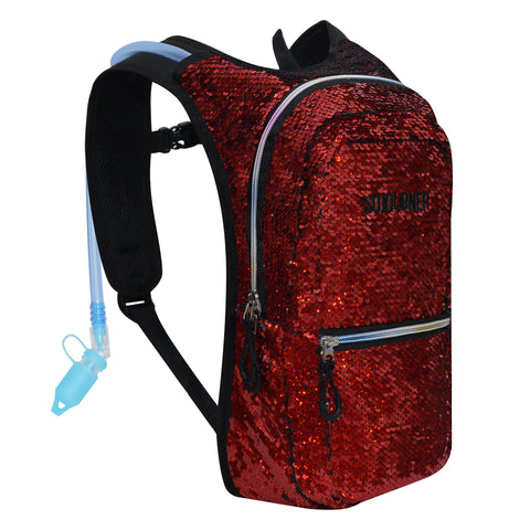 Medium Hydration Pack Backpack - 2L Water Bladder - Sequin Holo Silver-Red