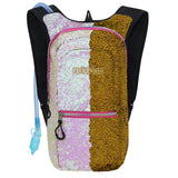 Medium Hydration Pack Backpack - 2L Water Bladder - Sequin Iridescent - Gold