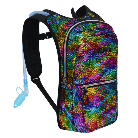 Medium Hydration Pack Backpack - 2L Water Bladder - Sequin Rainbow - Holo Silver