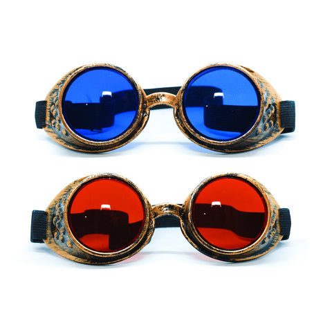 2-pack: Antique Brass Red & Blue Steampunk Goggles