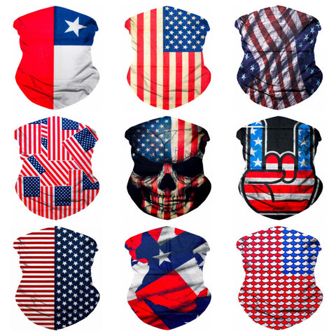 9PCS Seamless Bandanas Face Mask Headband Scarf Headwrap Neckwarmer & More – 12-in-1 Multifunctional for Music Festivals, Raves, Riding, Outdoors (USA 1)