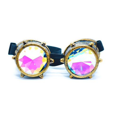 Bronze Steampunk Goggles Kaleidoscope Glasses - Trippy Psychedelic Rave Goggles - Funky Prism Glasses For Raves - Festival Accessories