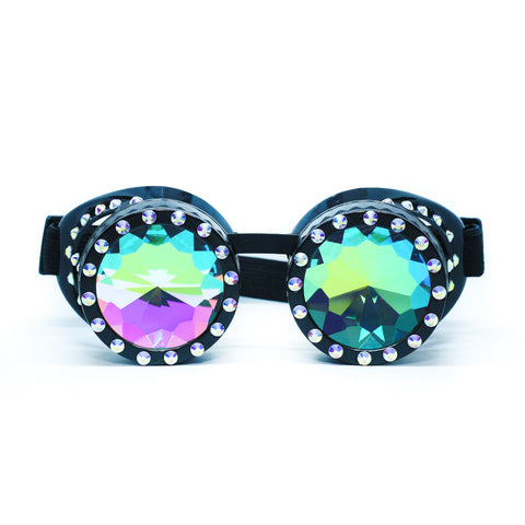 Black Steampunk Goggles Kaleidoscope Glasses - Trippy Psychedelic Rave Goggles - Funky Prism Glasses For Raves - Festival Accessories