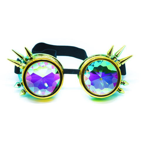 Yellow Green Steampunk Goggles Kaleidoscope Glasses - Trippy Psychedelic Rave Goggles - Funky Prism Glasses For Raves - Festival Accessories