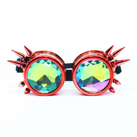 Fire Red & Orange Steampunk Goggles Kaleidoscope Glasses - Trippy Psychedelic Rave Goggles - Funky Prism Glasses For Raves - Festival Accessories