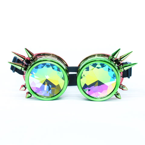 Green Red Steampunk Goggles Kaleidoscope Glasses - Trippy Psychedelic Rave Goggles - Funky Prism Glasses For Raves - Festival Accessories