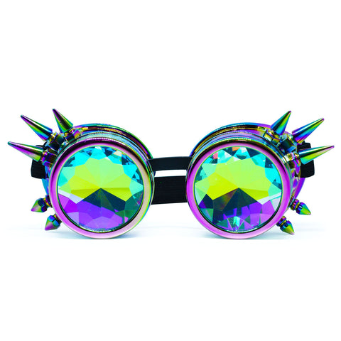 Iridescent Rainbow Steampunk Goggles Kaleidoscope Glasses - Trippy Psychedelic Rave Goggles - Funky Prism Glasses For Raves - Festival Accessories