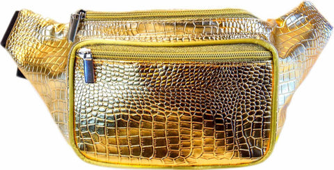 Gold Crocodile Fanny Pack - SoJourner Bags - front