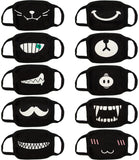 Face Masks (10 Pack) Black Cotton Mask - Adult Cute Anime Design - Cool Anti Dust Face Covering
