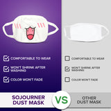 Face Masks (10 Pack) White Cotton Mask - Adult Cute Anime Design - Face Mask Reusable, Washable, Breathable, Adjustable