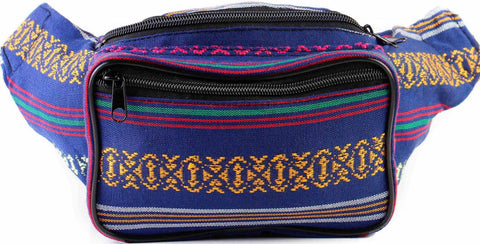 Woven Boho Festival Fanny Pack (blue) - SoJourner Bags - front