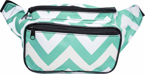 Teal Chevron Fanny Pack - SoJourner Bags - front