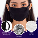 Black Face Mouth Mask - Cotton Face Covering (10 Pack) - Face Mask Resuable, Washable, Breathable, Adjustable