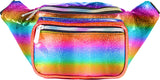 Fanny Pack Holographic Rainbow Glitter - Horizontal Fanny Pack - SoJourner Bags