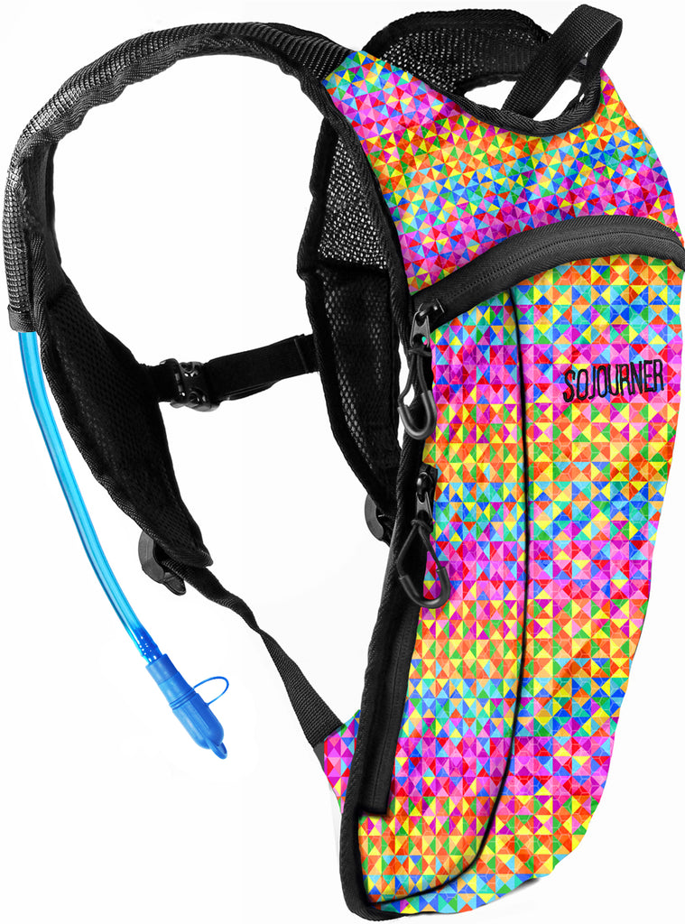 Fanny Pack Hydration Pack Backpack - 2L Water Bladder - Rainbow Triangle - SoJourner Bags