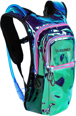 Medium Hydration Pack Backpack - 2L Water Bladder - Laser Holographic - Purple