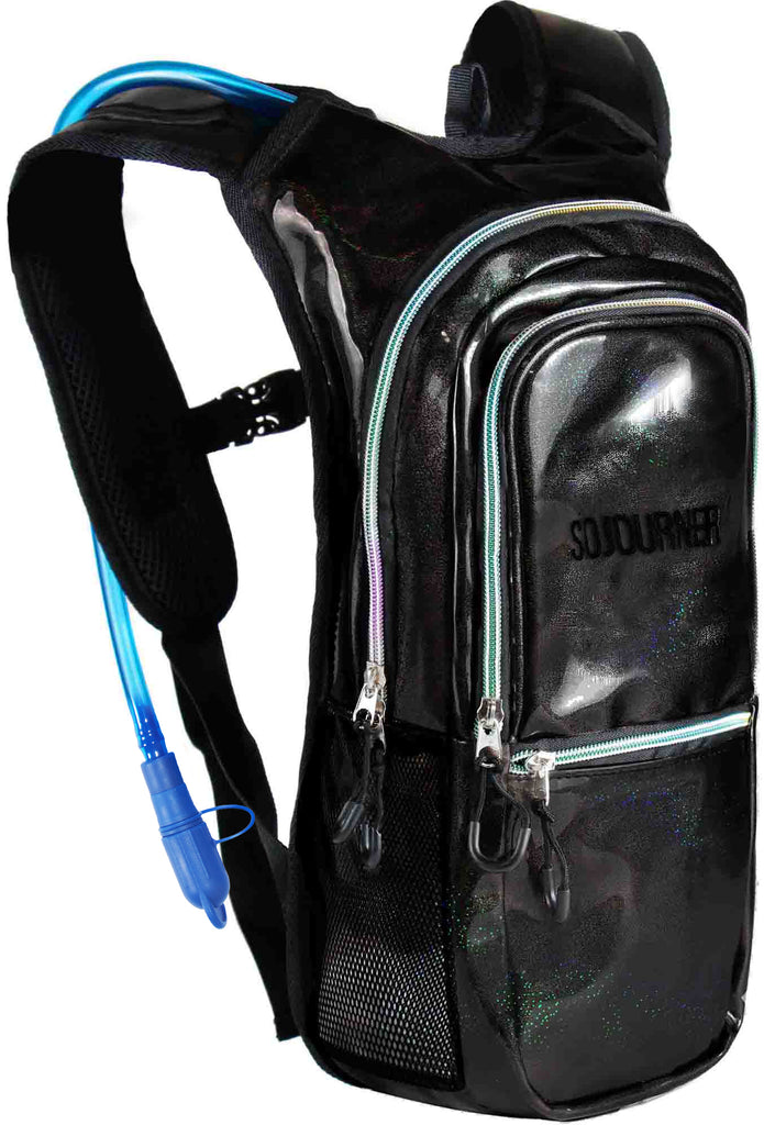 Medium Hydration Pack Backpack - 2L Water Bladder - Glitter - Black