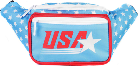 Fanny Pack Retro Light Blue USA Fanny Pack - SoJourner Bags