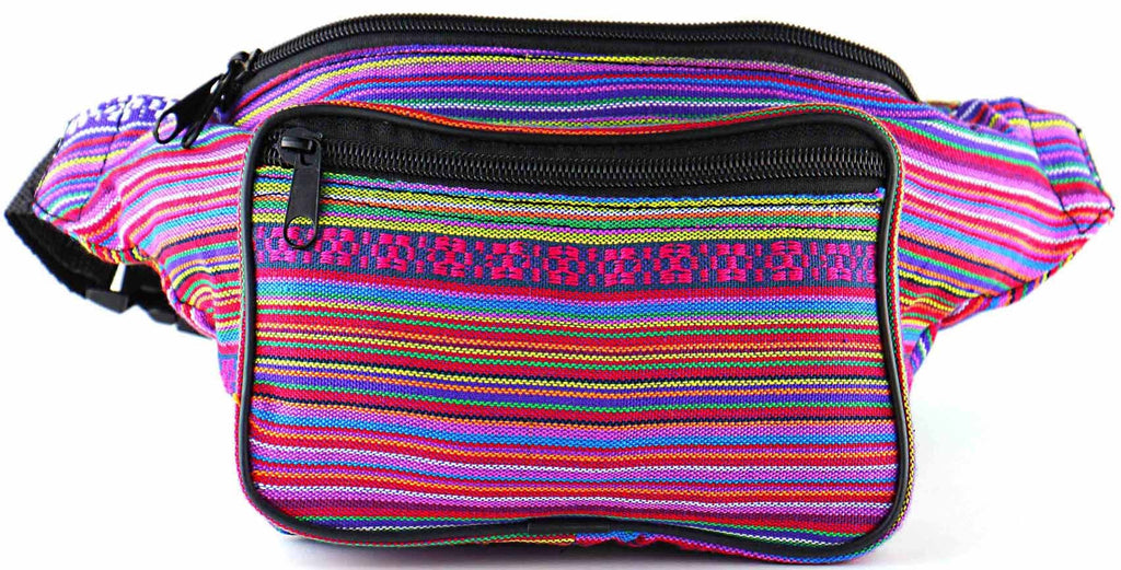 Woven Boho Festival Fanny Pack (pink) - SoJourner Bags - front
