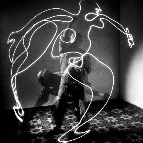 Picasso paints with light, 1949.