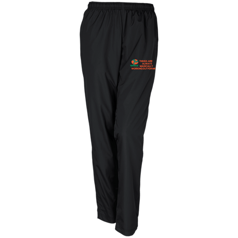 "Personalized Ladies Warm-Up Track Pant ""THINGS ARE ALWAYS MAGICALLY WORKING OUT FOR ME"""