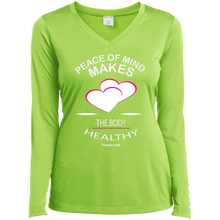 Load image into Gallery viewer, Inspirational  Ladies Long Sleeve Vneck Tee -  Peace of Mind keeps the Body Healthy. . . - Well Being Addict.Com