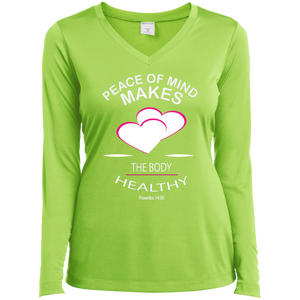 Inspirational  Ladies Long Sleeve Vneck Tee -  Peace of Mind keeps the Body Healthy. . . - Well Being Addict.Com