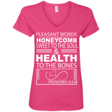 "Ladies' V-Neck Tee-Biblical Inspiration Quotes "" Honeycomb . ."""
