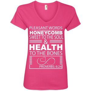 "Ladies' V-Neck Tee-Biblical Inspiration Quotes "" Honeycomb . ."" - Well Being Addict.Com"