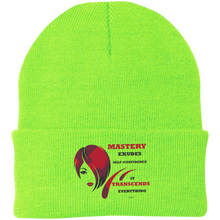 "Load image into Gallery viewer, One Size Fits Most Knit Cap-Spiritual Inspirational Affirmation – Cosmetologist ""Mastery Exudes . . . "" - Well Being Addict.Com"