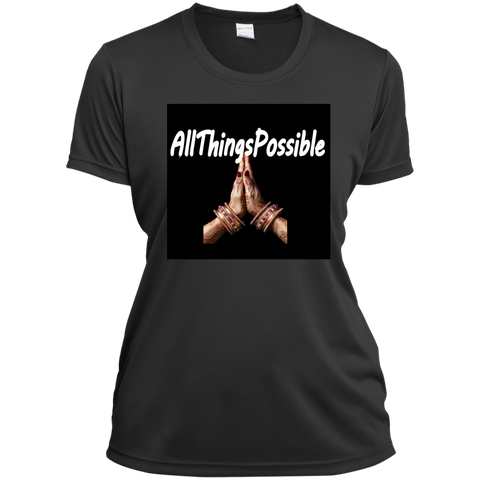 "Ladies Short Sleeve Moisture-Wicking Shirt AFFIRMATION ""ALLTHINGSPOSSIBLE"""