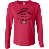 "Ladies Long Sleeve Cotton TShirt-Positive Inspirational Affirmations "" .... MY Mastery of Trust.  """