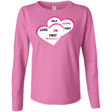 Ladies Long Sleeve Cotton TShirt Valentine - Well Being Addict.Com