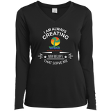 "Customized Spiritual Inspirational Affirmations Ladies Long Sleeve Performance Vneck Tee "" I AM ALWAYS..."" - Well Being Addict.Com"